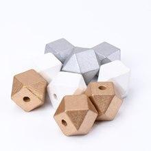 20mm 10 pçs ouro branco natural facetado de madeira unfinished geométrica espaçador contas para fazer jóias handmake diy mt2020