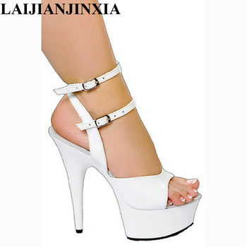 LAIJIANJINXIA Sexy Strap Women Wedding Party Shoes 15cm High Heels Dancing Shoes Sandals Open Toe Pole Dance Shoes