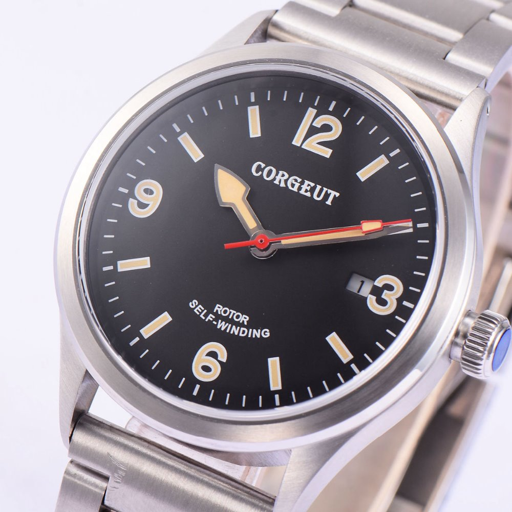 41mm corgeut black dial miyota Automatic movement mens wrist diving watch polisehd 41mm corgeut black dial sapphire glass miyota automatic mens watch c102