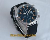 New 42MM Parnis Chronograph Quartz Movement Men's Watch Green Strap