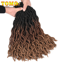 TOMO Curly Faux Locs Crochet Hair 24Strands Synthetic Hair f