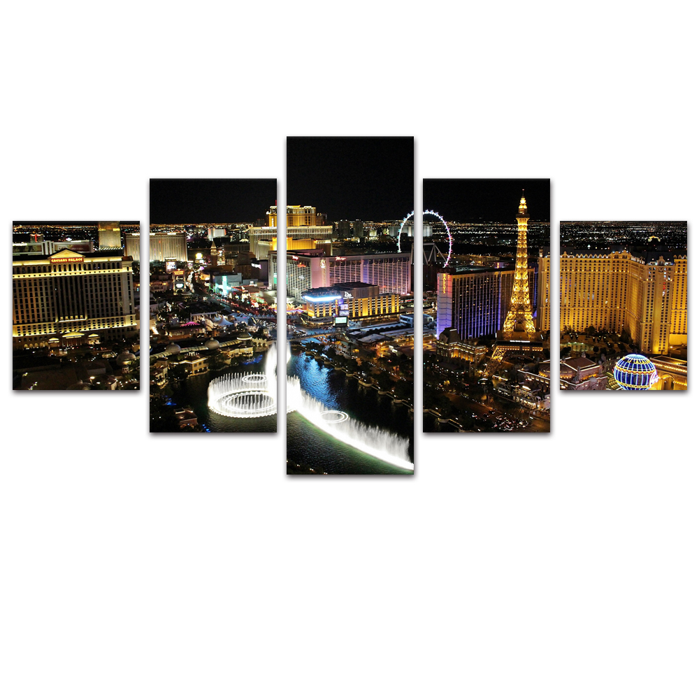 Unframed Canvas Painting City Night Scene Light Building Photo Prints Wall Pictures For Living Room Wall Art Decoration
