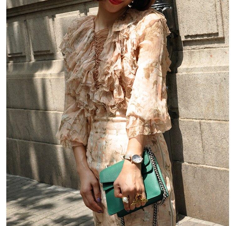 Женская Привлекательная блузка с длинными рукавами и цветочным рисунком, шелковое сверло вверх