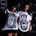 Europa American Apparel T Shirt Mulheres Tops de Verão 2016 Curto Branca de manga comprida T do Gráfico Design de Impressão Soltas Femme Tshirt Do Punk rocha