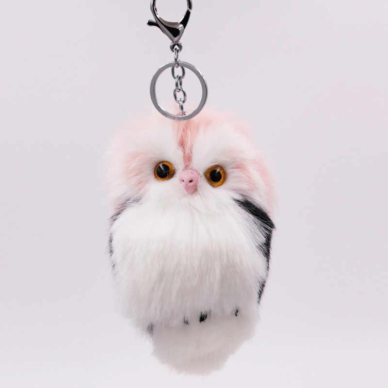 Bonito fofo coruja fêmea chaveiro titular falso coelho pele pompons chaveiro para presentes charme feminino chaveiro accessaries d15