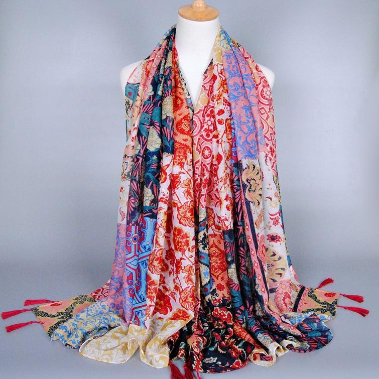 India style printe flower   scarf   popular ladies muslim hijab viscose   scarves     wrap   head autumn pashmina 5pcs/lot