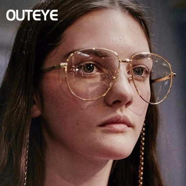 0192291120f Retro Big Frame Glasses Men Women Vintage Oversized Aviation Women Myopia  Optical eyeglasses Eyewear Female Eyewear