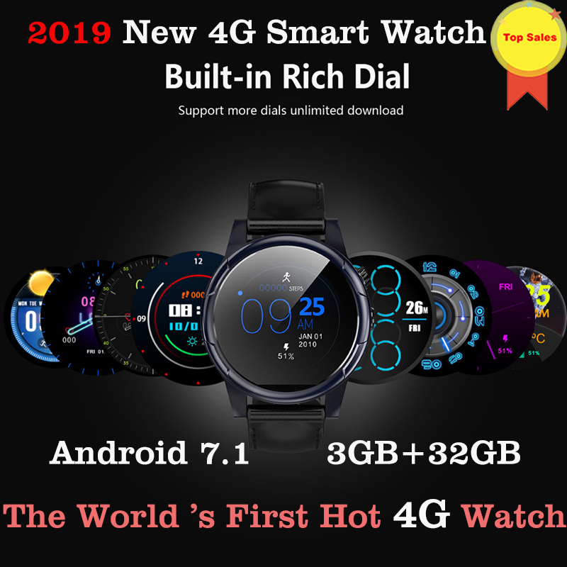 2019 <font><b>4G</b></font> LTE Android 7.1 Smart Watch 1.6inch big Screen Round WiFi GPS Sim Card <font><b>4G</b></font> <font><b>Smartwatch</b></font> Phone Heart Rate pk ticwatch 2 kw88 image