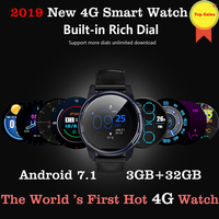 2019 4G LTE Android 7.1 Smart Watch 1.6inch big Screen Round WiFi GPS Sim Card 4G Smartwatch Phone Heart Rate pk ticwatch 2 kw88