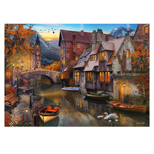 DIYDiamond Painting leisure town scenery Diamond embroidery Bridge small town scenery Diamond Mosaic Cross Stitch town landscape цены онлайн