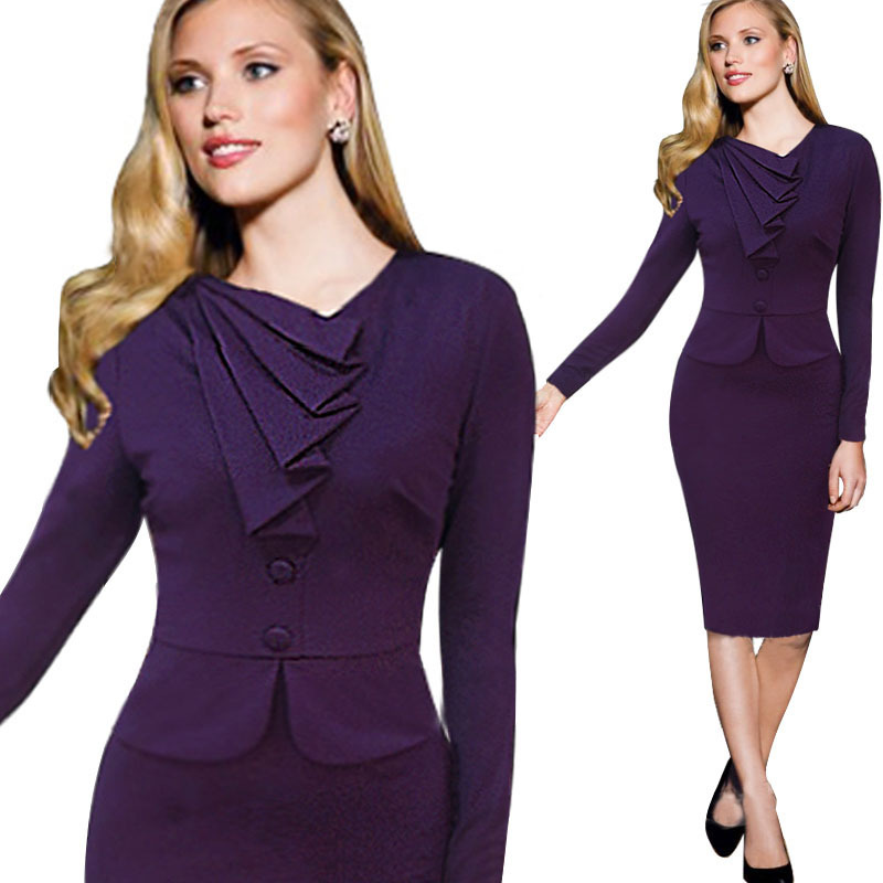 Royal Blue Elegant Plaln Pleat Women Work Wear Long Sleeves Office Formal Woman Dress 2017 L36005 2 In Dresses From S Clothing Accessories On