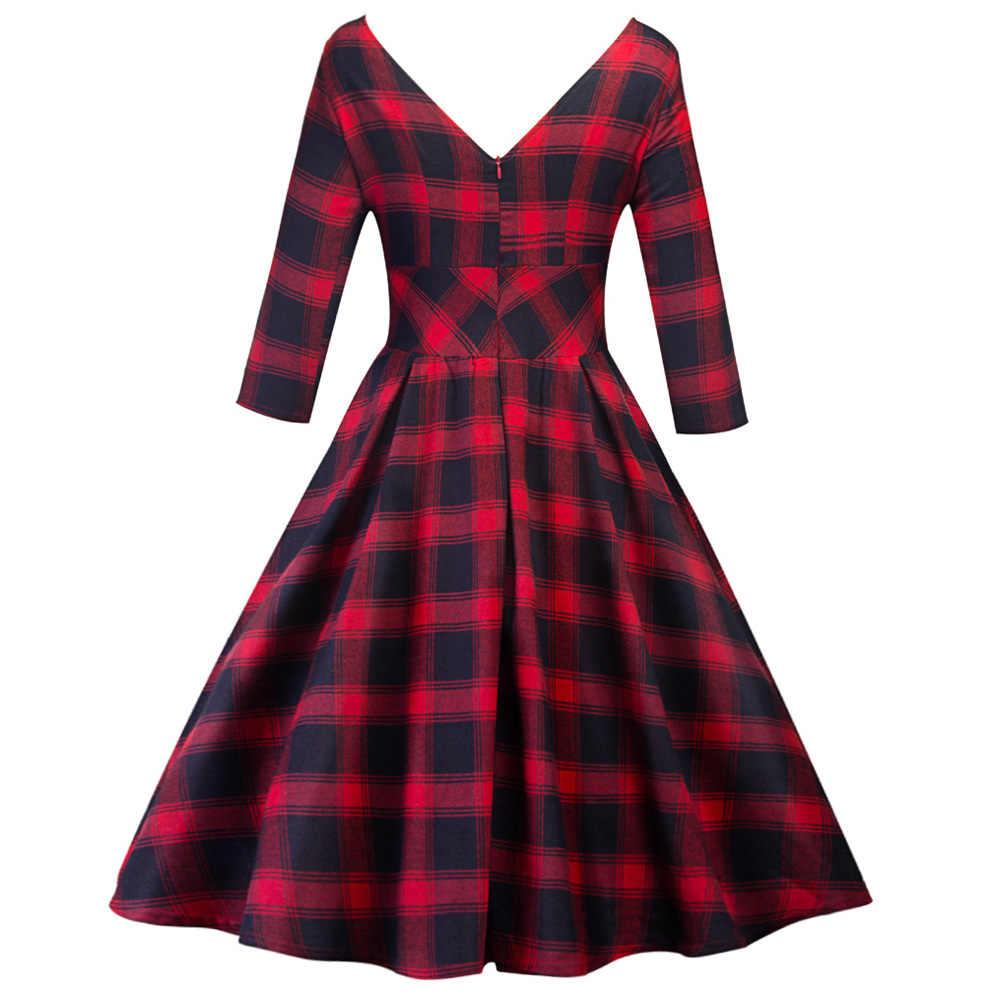 Joineles красный в клетку Длинные рукава винтажное женское платье рокабилли качели хлопок ретро платье 60 s Feminino вечерние платья