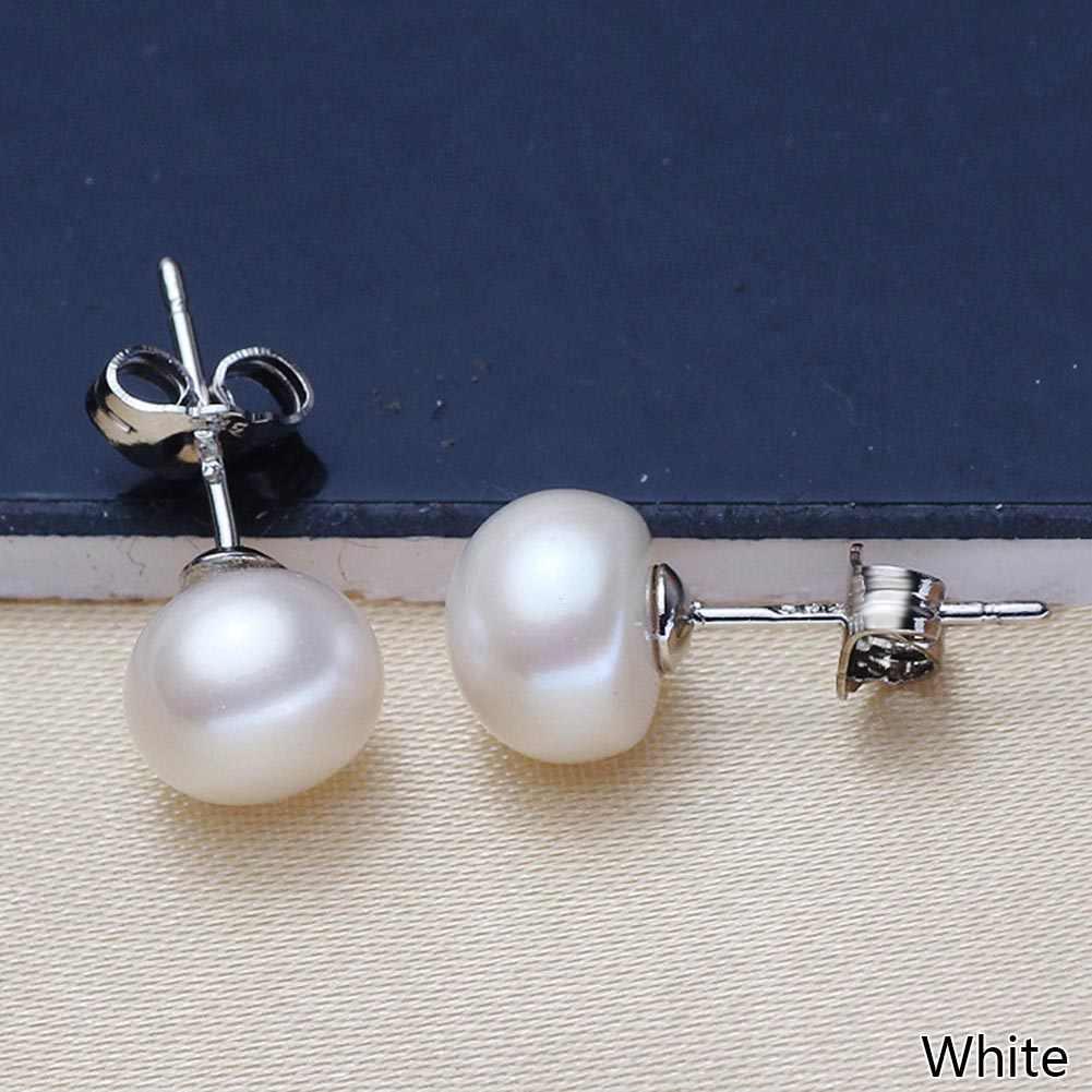 Echt Süßwasser Perle Silber Ohrringe 7mm 8mmn Natürliche Perle Ohrringe Für Frauen Fasion Schmuck Weiß Rosa Lila
