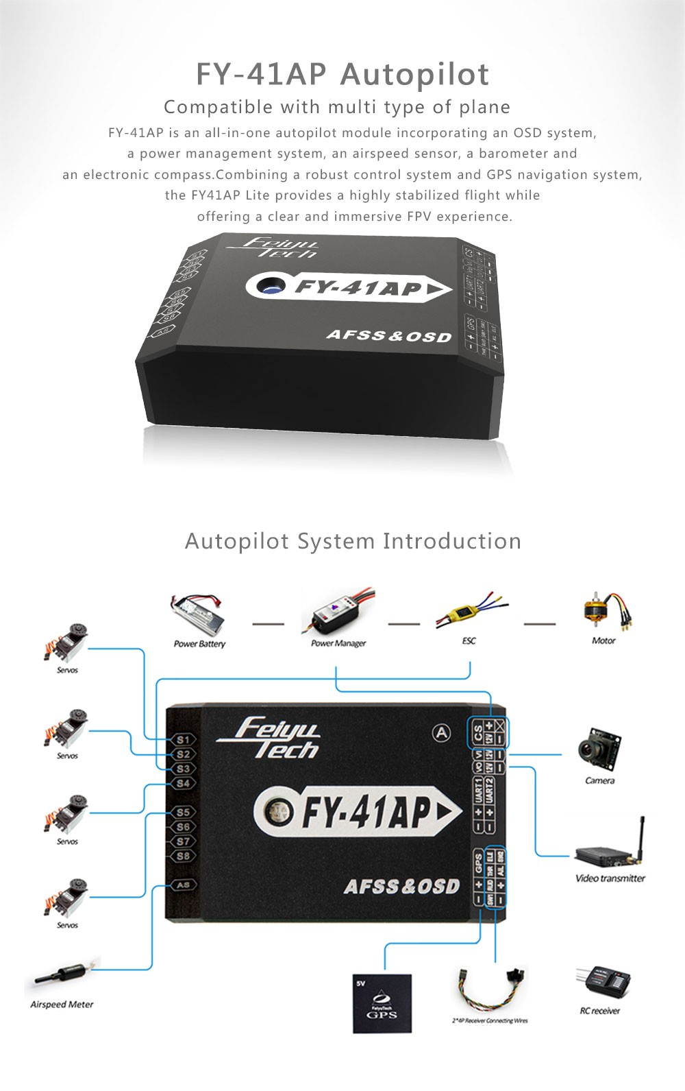 Autopilot Feiyu FY-41AP Flight Controller For Fixed Wing Uav Drone Rc Plane Fpv