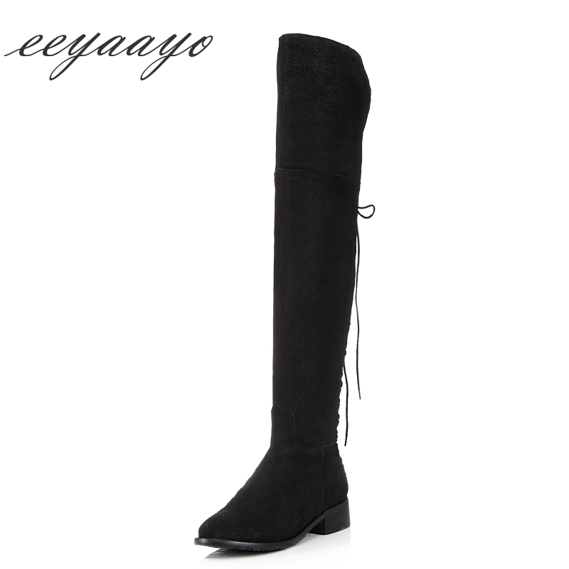Genuine Leather Winter Women Over-The-Knee Boots Middle Heel Round Toe Zipper Sexy Women Leather Shoes Black Thight High Boots women genuine real leather over the knee boots winter boots sexy high heel fashion round toe zipper women boots shoes size 33 42