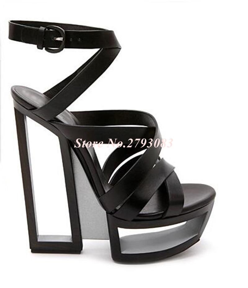 Hot-Selling-Black-White-Strange-Heel-Women-Sandals-2019-Cut-out-Hollow-Platform-Gladiator-Sandals-Women (4)