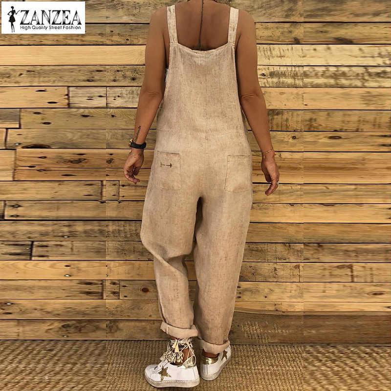 42bc1f213f ... ZANZEA Ladies Linen Overalls 2018 Vintage Casual Dungarees Jumpsuits  Women Long Rompers Female Harem Pants Trousers ...