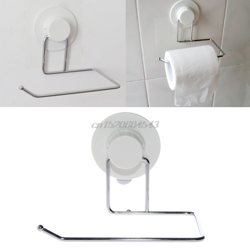 Toilet Paper Holder Bathroom Suction Hanger Tissue Rack Kitchen Towel Hook R06 Drop Ship high quality stainless steel sus304 hook style satin kitchen bathroom bar style suction cup rolling tissue toilet paper holder