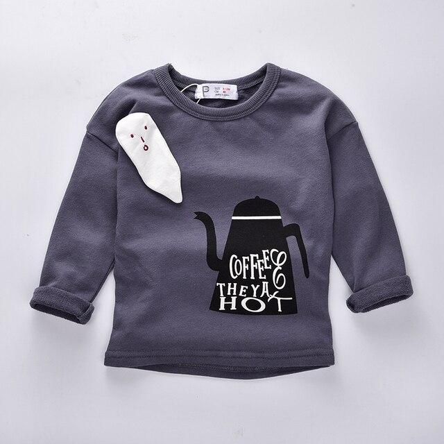 Мальчики одежда 2016 Осень дети полный рукав кофе и чай пятна с капюшоном новорожденных Девочек одежда бобо выбирает мальчики майка детей толстовка