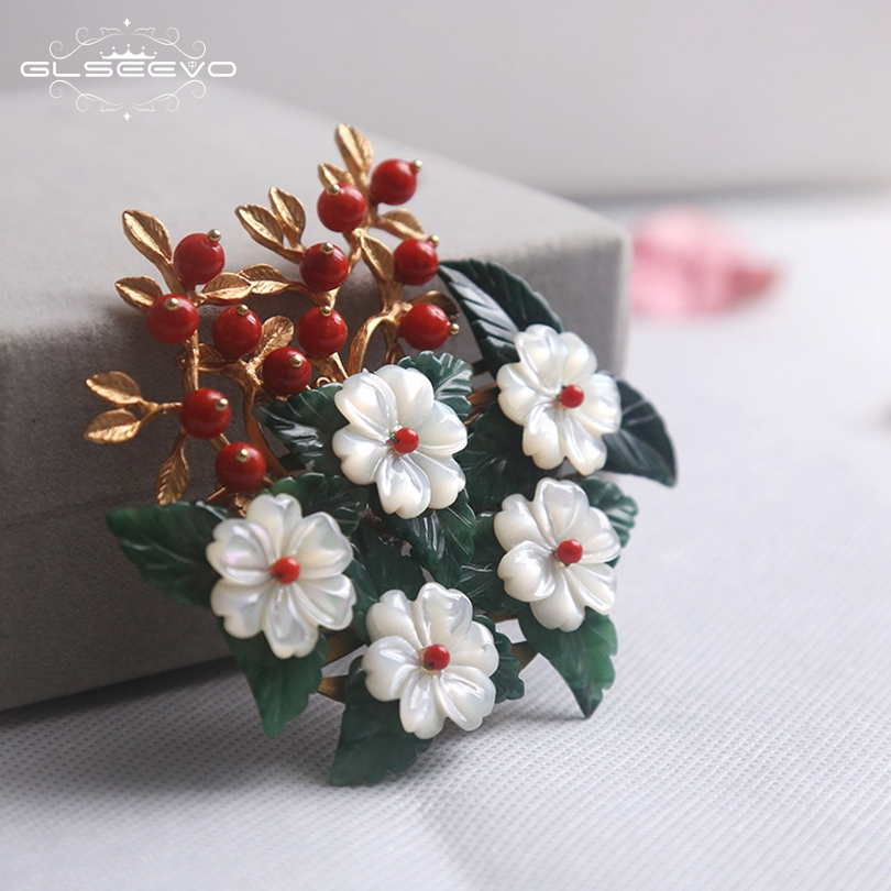 GLSEEVO Natural Jade Leaf Brooch Pins Mother Of Pearl Flower Brooches For Women Female Party Dual Use Luxury Fine Jewelry GO0138GLSEEVO Natural Jade Leaf Brooch Pins Mother Of Pearl Flower Brooches For Women Female Party Dual Use Luxury Fine Jewelry GO0138