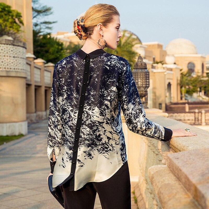 Camicia delle donne 100% Reale Puro Camicetta Di Seta Delle Donne Vestiti 2019 Coreano Elegante Primavera Camicette di Stampa Delle Donne Magliette e camicette OL Camicette ZT2254 - 2