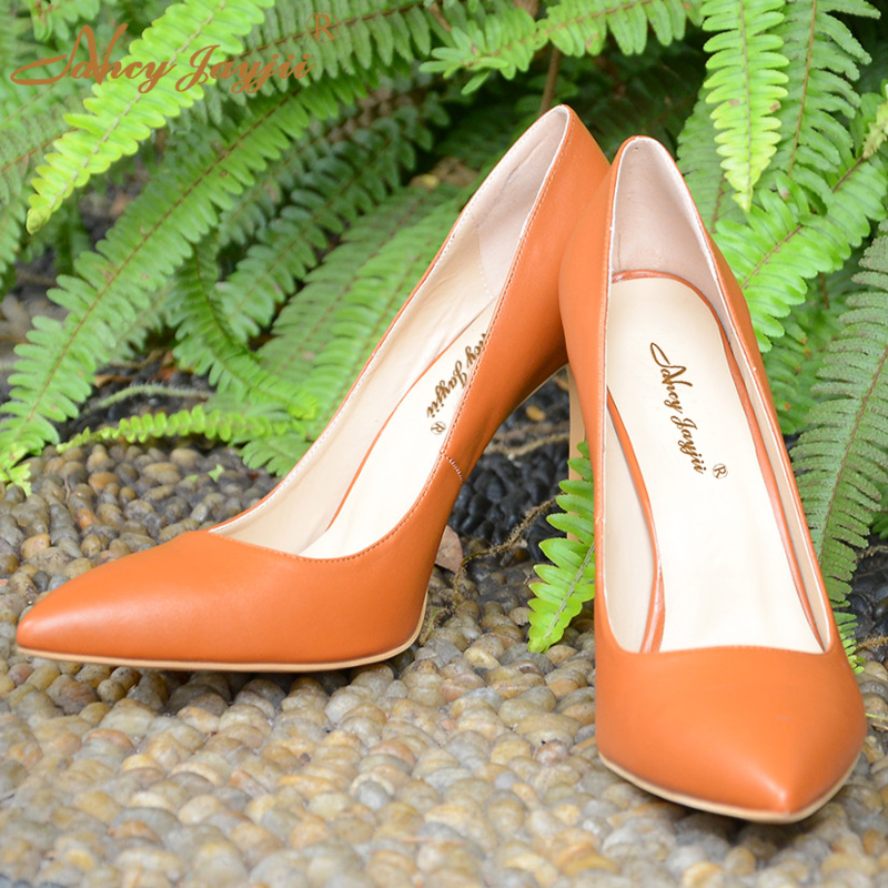 ФОТО Nancyjayjii Pointed Toe Women Sexy High Heels Slipper Adhesive Leather Brown Pumps Shoes Dress&Party&Evening Large Size 5-16