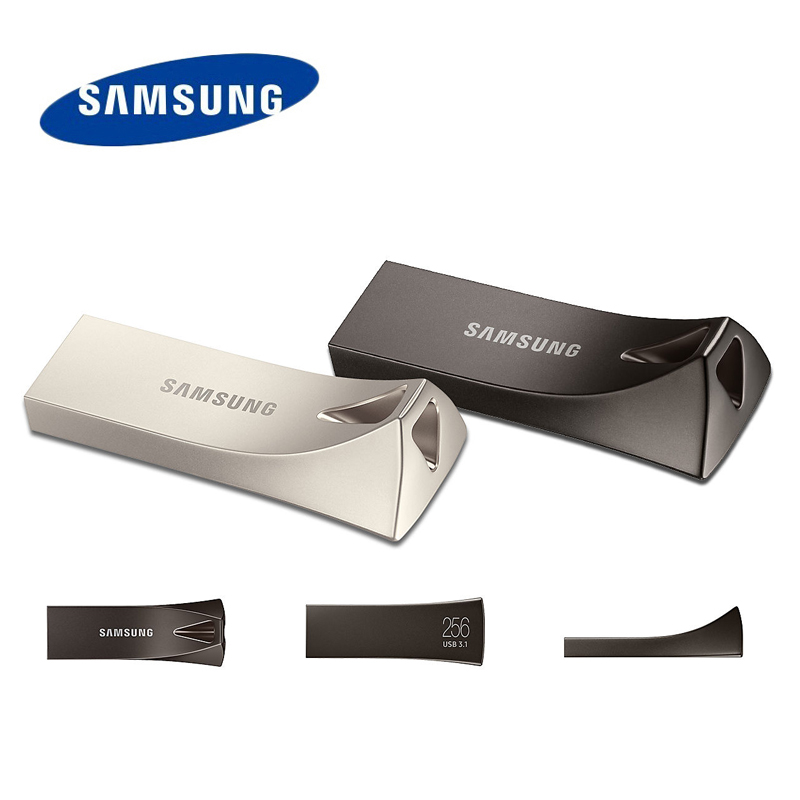 SAMSUNG 3.1 USB Flash Drive 32gb 64gb Sdxc 128gb 256gb USB3.1 Up To 300MB/S BAR PLUS Silver/gray Pen Drive Memory Flash Disk