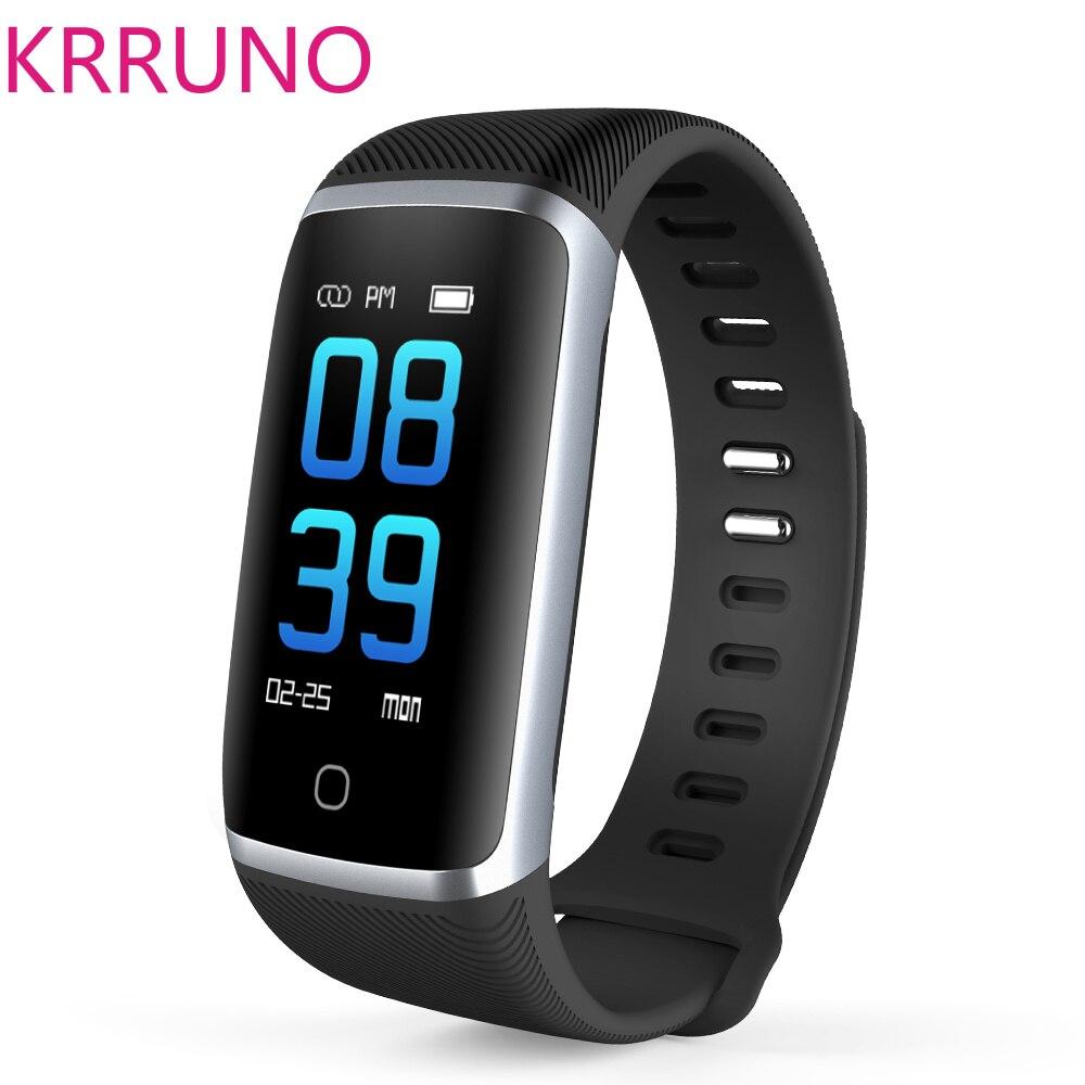 цена на KRRUNO Q16 Fitness Watch Blood Pressure Smart Band Smart Bracelet Blood Oxygen Smart Wristband Fitness Bracelet for Android Ios