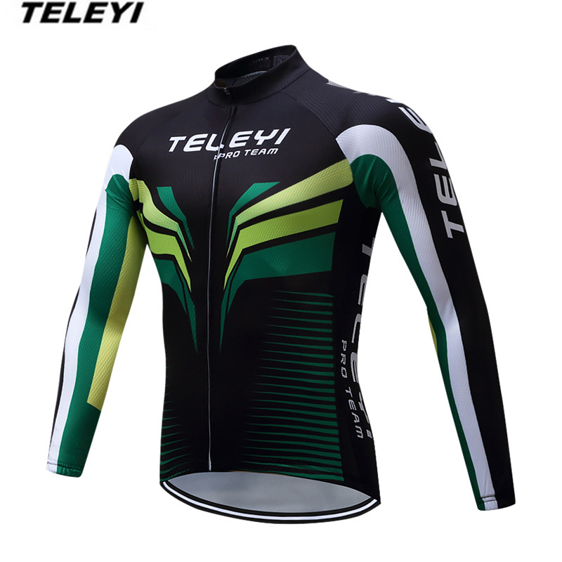 TELEYI Black Green Bike jersey Men Cycling clothing Male MTB Ropa Ciclismo Maillot Long Sleeve Shirts Riding blouse for Spring