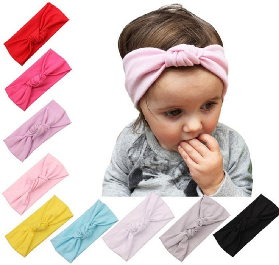 2017 New Solid Hair Elastic Band Baby Toddler Cute Girls Kids Bow Hairband Baby Headband Bow Cotton Acessorio Para Cabelo