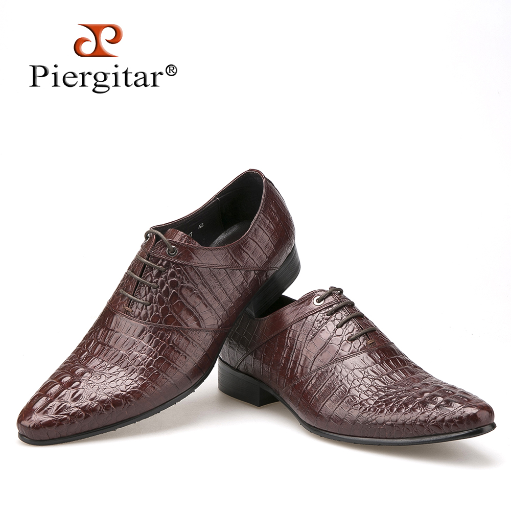 Mens Fashion Crocodile Embossed Lace Up Business Dresss Leather Shoes Leisure Sz