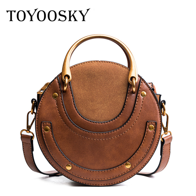 5505c6b3164c TOYOOSKY 2018 New Women Circular Bags Scrub PU Leather Crossbody Bags Metal  Ring Handbag Round Ladies