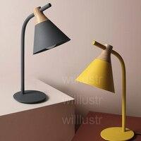 Willlustr Новый железного дерева чтения свет тумбочка лампа Macaron цвет розовый желтый серый кабинет стол освещения офис отель