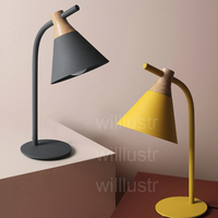 Willlustr new iron wood reading light bedside table lamp Macaron color pink yellow gray study room desk lighting office hotel
