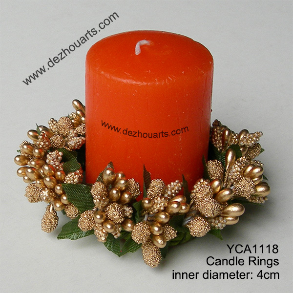 Christmas Candle Rings.Gold Berry Candle Rings Christmas Candle Rings Decoration In