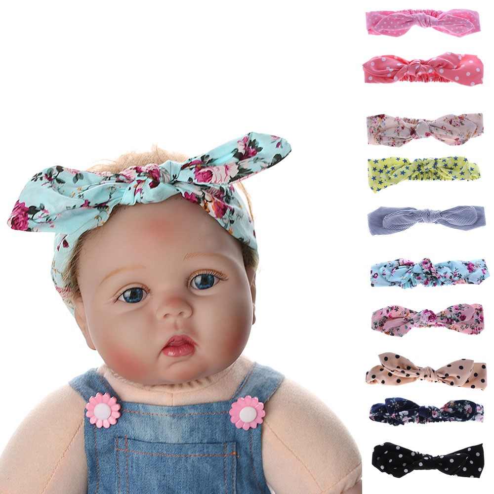 2017 Lovely Girls Hair Accessories Kids Bow Hairband Turban Knot Rabbit Ear Headband Print Dot Headwear Hairband 1 pc women fashion elastic stretch plain rabbit bow style hair band headband turban hairband hair accessories