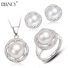 Fashion Pearl Jewelry Sets Natural Freshwater Pearls Necklace Earrings Ring 925 Sterling Silver Pendants For Women