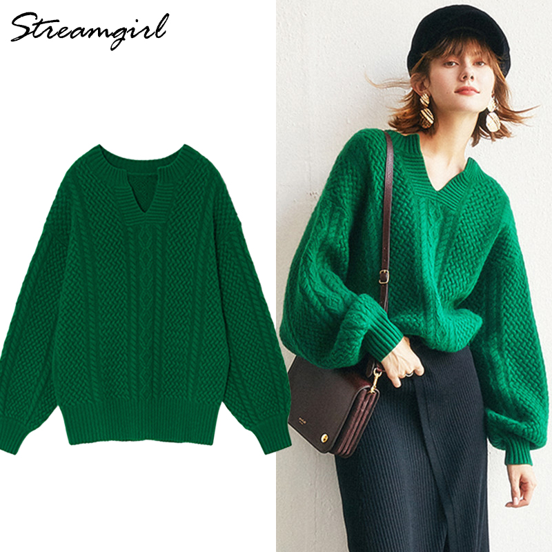 2019 Spring Cashmere Sweater Female Knitted Pullover Women Jumper Green Wool Retro Sweater Women Batwing Sleeve