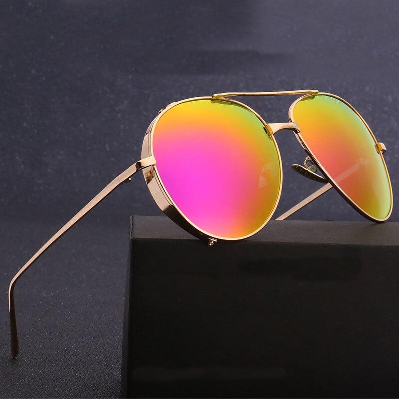 Steampunk Goggles Men Carter Round Sunglasses Polarized Women Lunette Sunglasses Luxury Brand Female Driver Gold Eyewear oculos