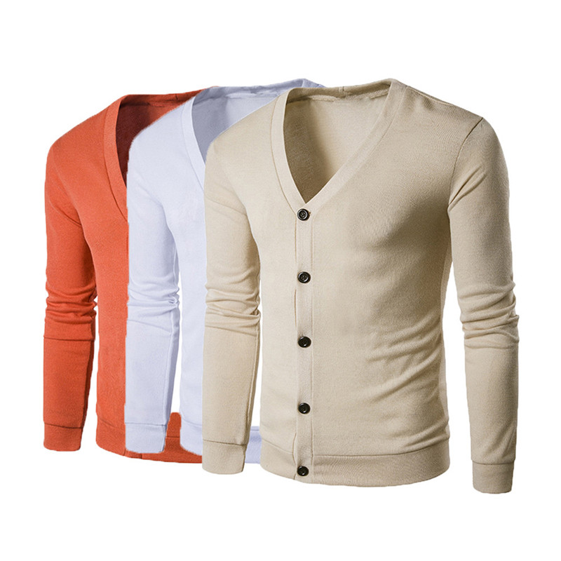Fashion Men Male Sweater Outerware Autumn Button V Neck Long Sleeve Knit Sweater Cardiga ...