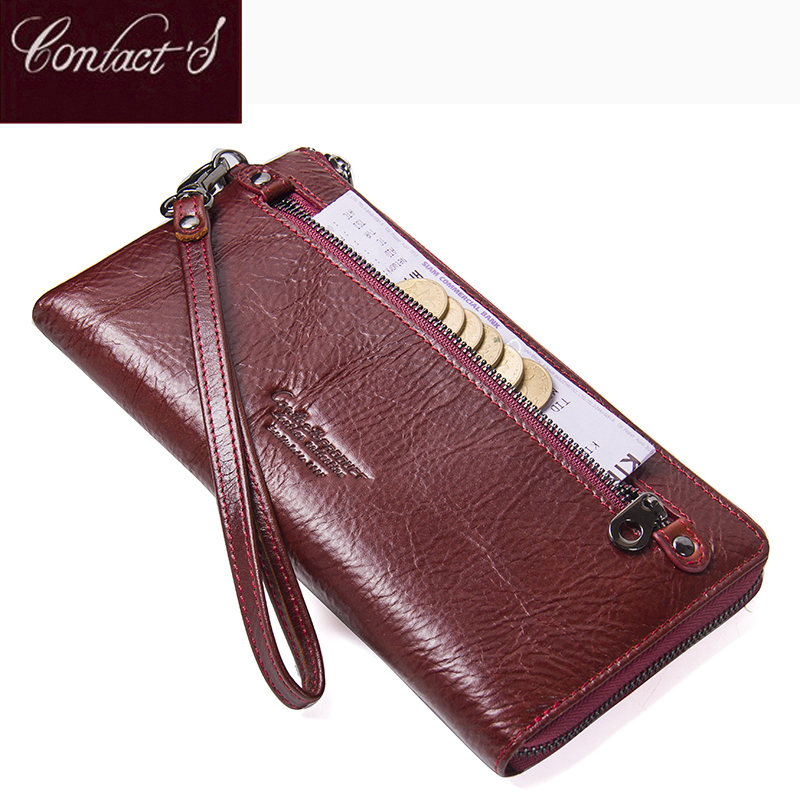 New Genuine Leather Purse For Women Fashion Zipper Ladies Long Clutch Wallets Big Capacity Wallet With Card Holder and Phone Bag top brand genuine leather wallets for men women large capacity zipper clutch purses cell phone passport card holders notecase