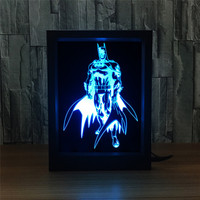 Avengers Batman Bruce Wayne 3D Light Photo Frame RGB 7 Color Changing Superhero LED Night Light