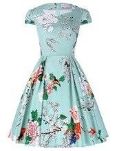 Women Floral Print Dress 2016 Plus Size Clothing Party Dresses Style Vestidos 1950s Flare 50s Pattern Vintage Rockabilly Dresses