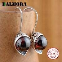 BALMORA Czerwony Cyrkon Kolczyki Oryginalne 925 Sterling Silver Elegancki Spadek Kolczyki dla Kobiet Lover Prezent Ślubny Biżuteria HSJ20244