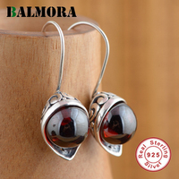 Balmora赤ジルコンイヤリング本物の925スターリングシルバーエレガントなドロップイヤリング女性のための恋人ウェディングギフトジュエリーHSJ20244