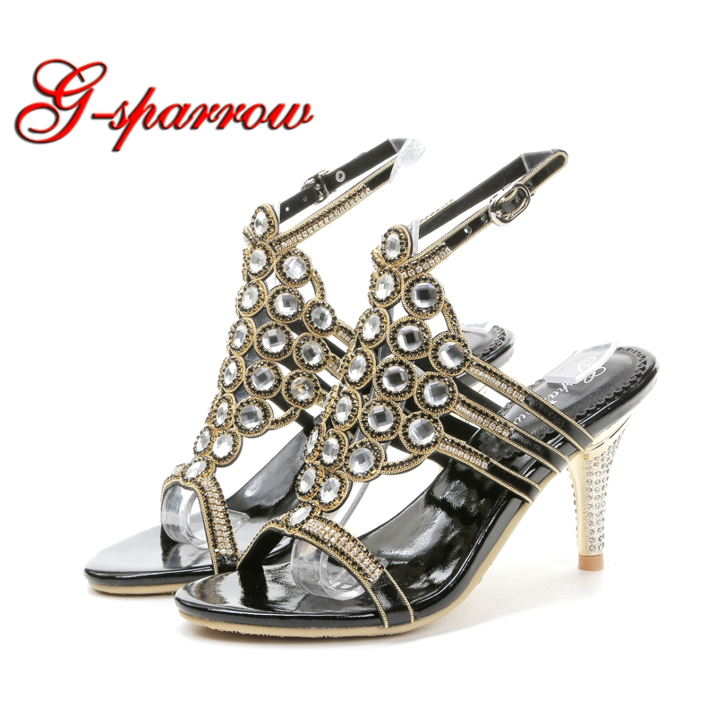 Prom-Sandals Dancing-Shoes Stiletto-Heels Rhinestone Black Party Mother-Of-The-Bride-Shoes