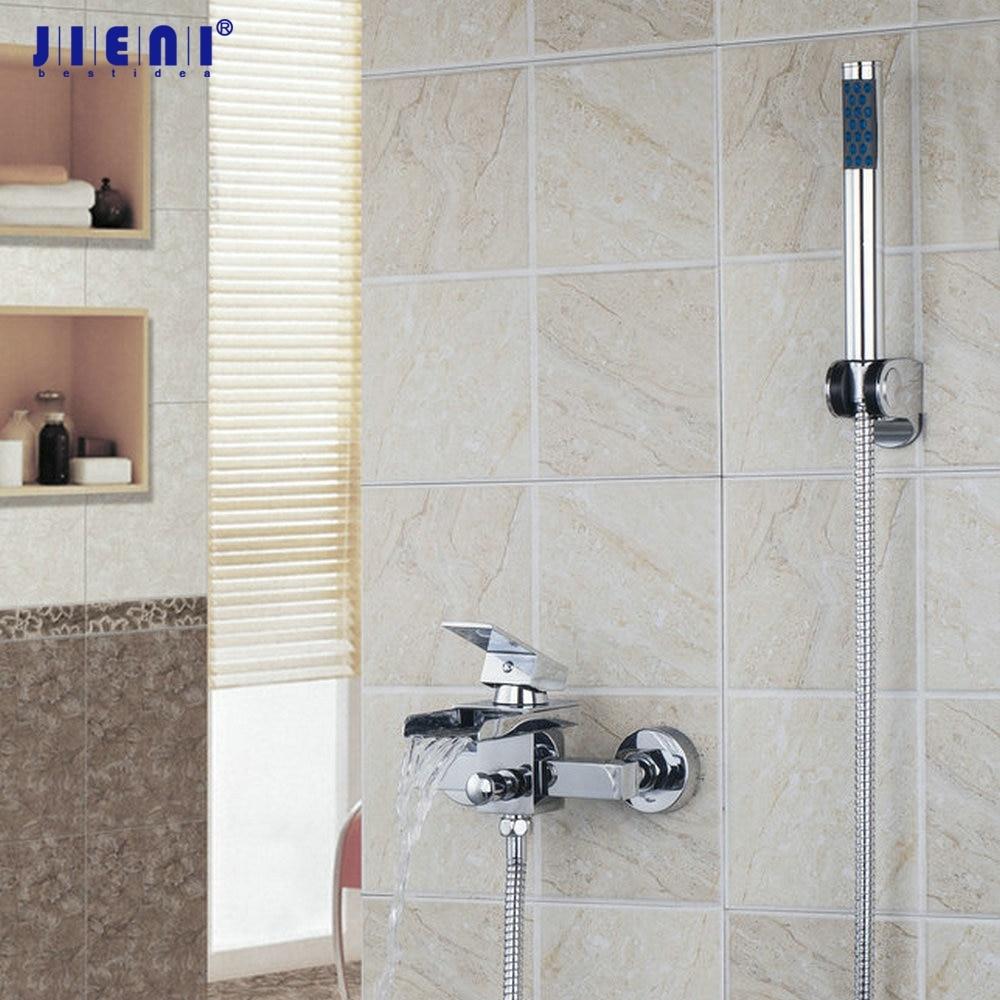 New Modern Chrome Finish Bathtub Brass Waterfall Faucet Tap 8259-1 Bathroom Basin Sink Faucet Mixers &Taps modern brass bathroom sink waterfall faucet