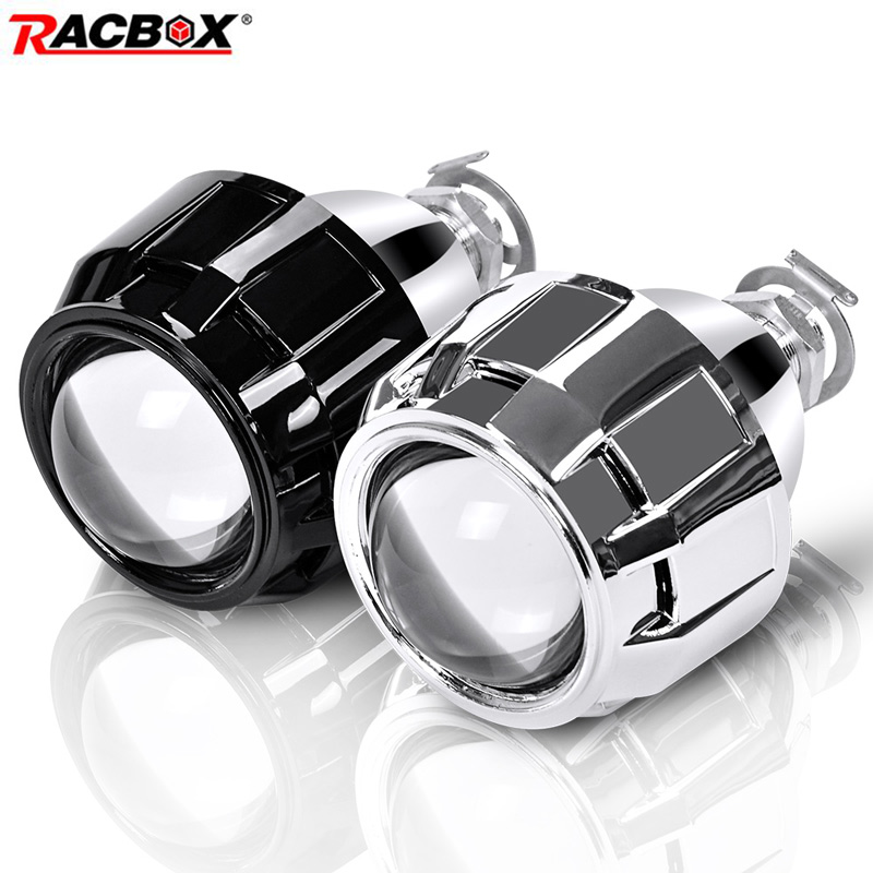 2Pcs Mini 2.5 inch Bi xenon Projector Lens HID Headlight WST Retrofit H7 H4 Socket Headlamp Use H1 HID Bulbs LHD RHD Car Styling