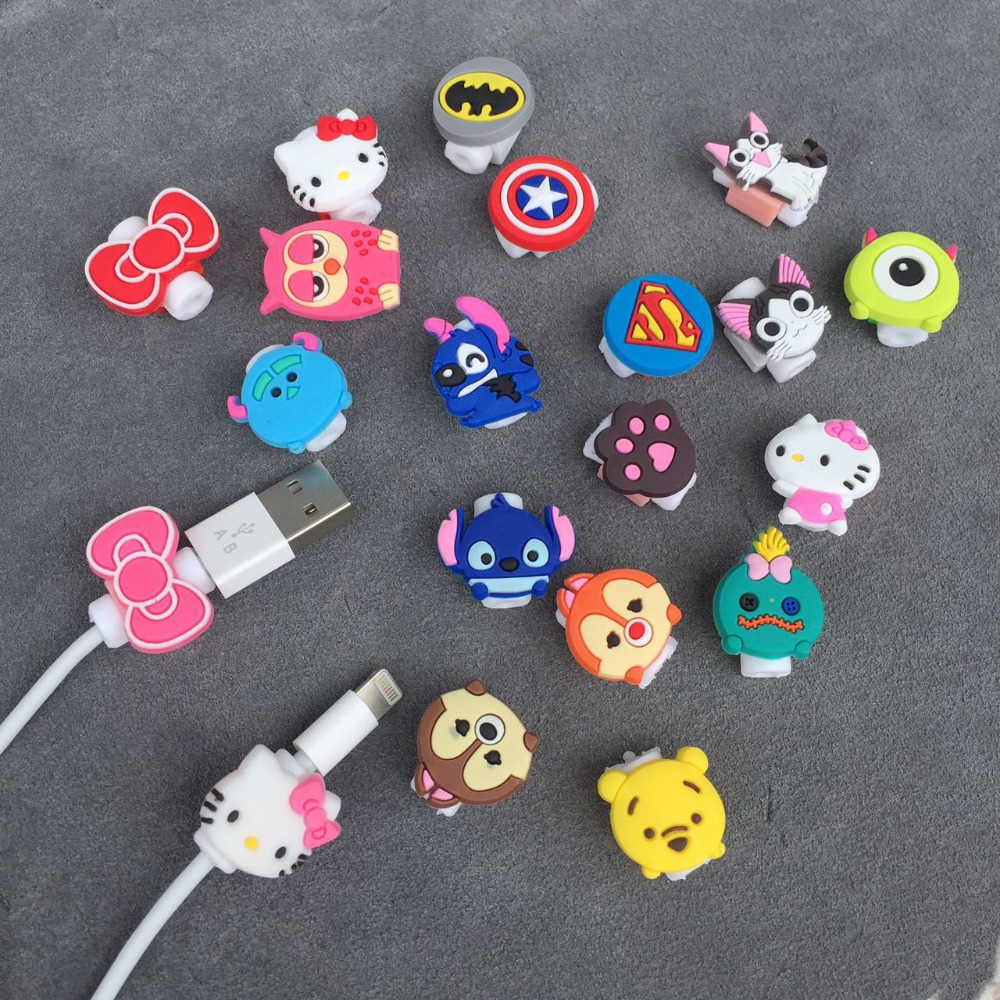 Cartoon Cable Protector Data Line Cord Protector Protective Case Cable Winder Cover For iPhone5 5s 6 6plus 6s USB Charging Cable купить недорого в Москве