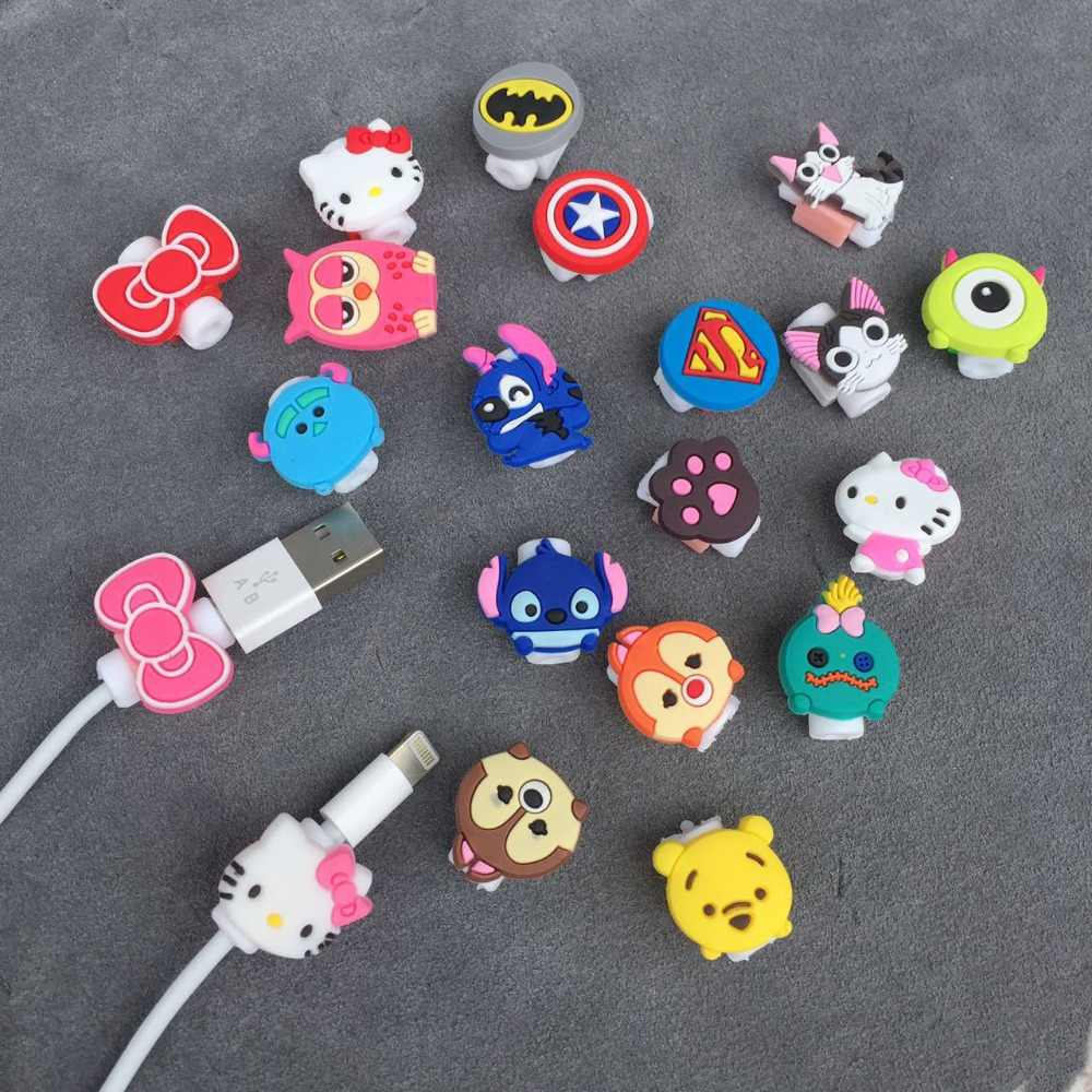 Cartoon Kabel Protector Data Line Cord Protector Beschermhoes Kabel Winder Cover iphone5 5 s 6 6 plus 6 s USB Opladen kabel